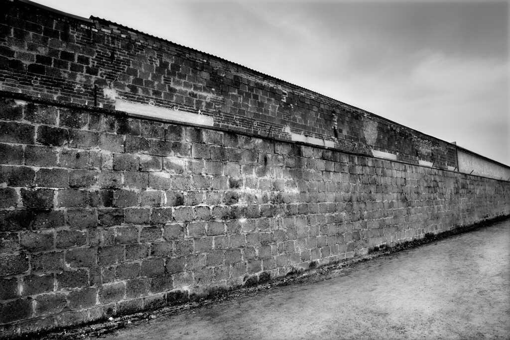 Brick Wall, Western Perimeter, Sachsenhausen Concentration Camp<br /> <br /> The outside western wall of Sachsenhausen was built by prison labourers in 1938 on the orders of the SS.  This high, imposing brick wall was built to separate the industrial yard, or Iindustriehof, from the prisoner enclosure.  Today, only the southern end of this wall is intact.<br /> <br /> In the industrial yard was a complex of workshops and factories in which hundreds of prisoners were forced to work by the SS.  Heinkel, the aircraft manufacturer was a major user of prisoner labour.   By 1944, in excess of 1500 prisoners worked here and those who were not able to work were made to stand at attention for the entire working day as punishment. <br /> <br /> In 1939, the SS constructed the first crematorium in the yard.  This was replaced in 1942 by Station Z, which prisoners were forced to build by the SS.  Located in the northern section of the yard, it was used solely for extermination purposes.  This building of solid stone consisted of 4 cremation ovens and a firing squad area, where victims were shot in the neck.  In 1943, a small gas chamber, camouflaged as a shower room with a drain hole in the centre of the floor, was added.  To the north of the building was the execution trench, still in existence.<br /> <br /> From A to Z was the cynical SS slogan in referring to the camp entrance, Tower A; and the exit, Station Z, the last station in life of those prisoners who were executed.
