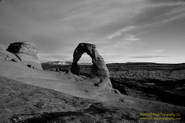 Delicate Arch Sunset - BW