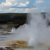 The Clepsydra Geyer in the Lower Geyser Basin in Yellowstone National Park erupts continuously to heights of 45ft.