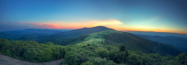 Sunset Panorama from Janes Bald, on the Appalachian Trail near Roan Mountain Tennessee