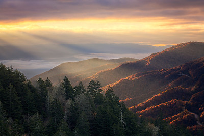 Sunrise at Newfound Gap Overlook in the Great Smoky Mountains National Park