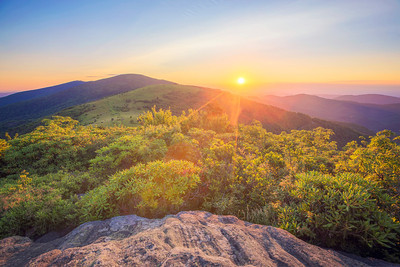 Sunset from Janes Bald, on the Appalachian Trail near Roan Mountain Tennessee