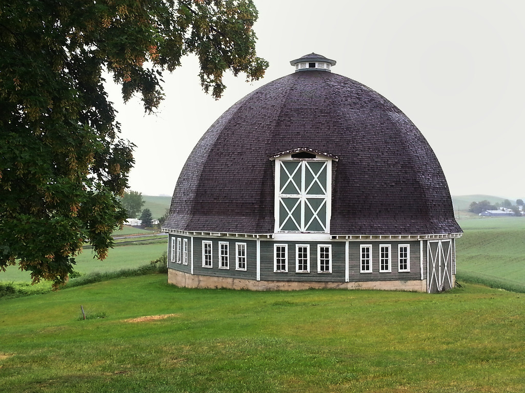 A rare 12-sided round barn near Pullman in Washington's Palouse farming region