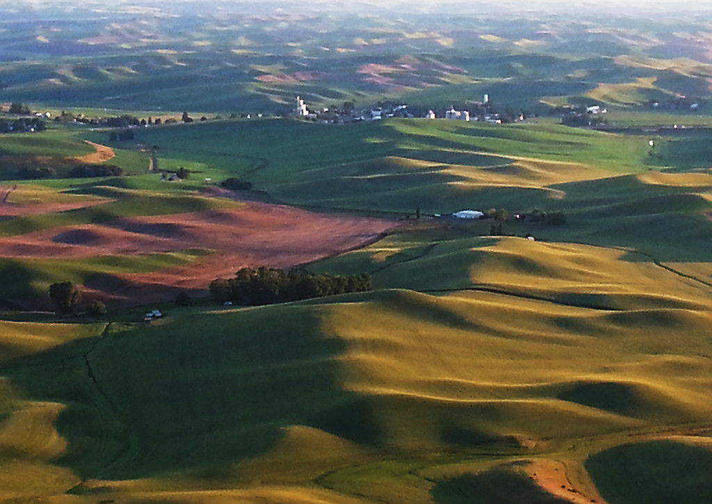 The town of Steptoe, WA and surrounding farms as seen from the summit of Steptoe Butte.