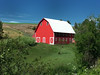 A brilliant red barn shines in the afternoon sun near Colfax, WA in the Palouse farming region.