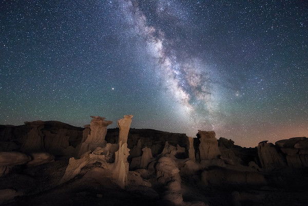 The Valley of Dreams area of the Bisti Badlands in New Mexico has unlimited potential for Milky Way photography.