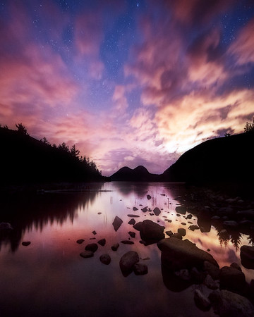 Night Reflections at Jordan Pond - Vertical Crop