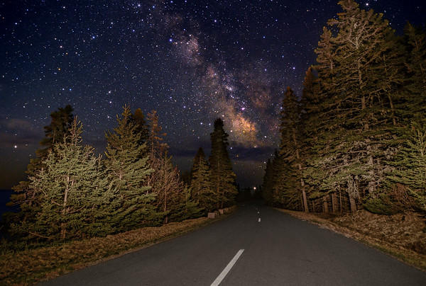 """""""Road To The Milky Way"""" - the Milky Way rises above Park Loop Road in Acadia National Park, Maine. Photographed May 5, 2013 @ 3:24 AM."""