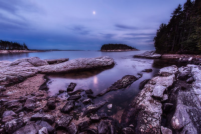 Moonlight shining over Five Islands, Maine. Photographed September 15, 2013.