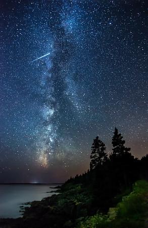 Milky Way & Meteor in Acadia