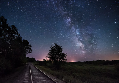 The Milky Way rising next to the train tracks just West of Unity Pond in Unity, Maine.
