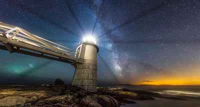This is a 7 image panorama of the Milky Way rising over the Atlantic Ocean at Marshall Point Lighthouse - Port Clyde, Maine. Photographed August 5, 2013.