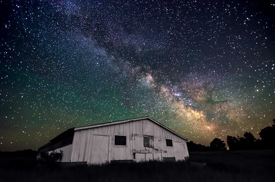 The Milky Way rising above an old farm building in Palermo, Maine. Photographed June 10, 2013.