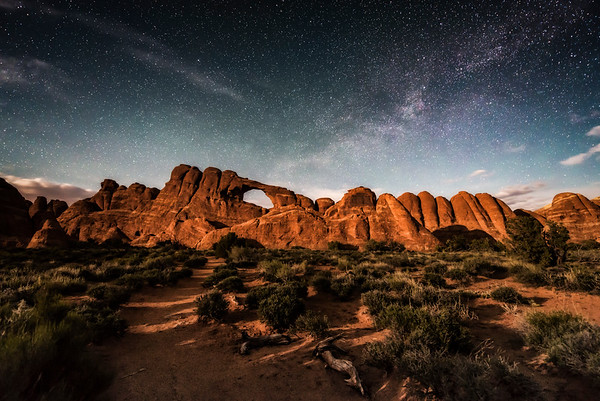 Skyline Arch Moonlight & Milky Way