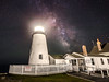 The Milky Way rises above Pemaquid Point lighthouse. Photographed June 16, 2013.