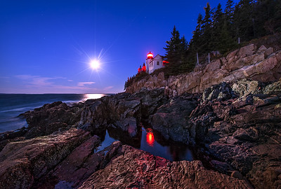 The Full Hunter's Moon at Bass Harbor Lighthouse. Photographed October 19, 2013.