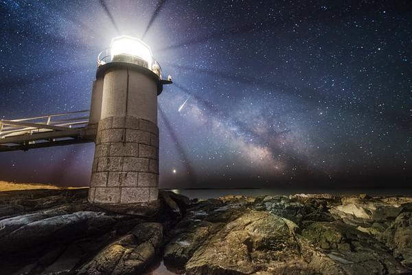 Meteor, Milky Way & Venus at Marshall Point Light