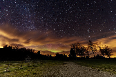 Faint aurora in central Maine, photographed November 9, 2013.