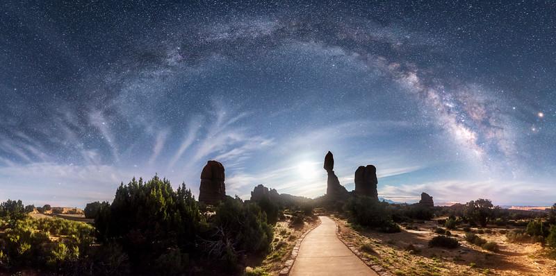 Balanced Rock Moon Rise Milky Way Pano