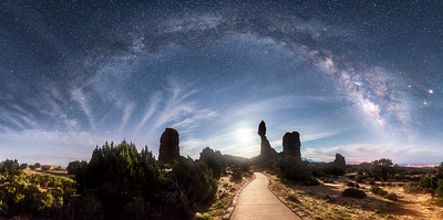 Balanced Rock Moon Rise Milky Way Pano