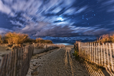 The Moon and Orion shine brightly over the Atlantic Ocean in this shot from the Eastern Shore of Maryland. Photographed September 27, 2013.