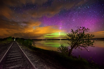 Aurora At Unity Pond #1 - one frame captured at 2:36 AM from a time lapse that I set up on the train tracks next to Unity Pond, Maine. Photographed May 18, 2013.