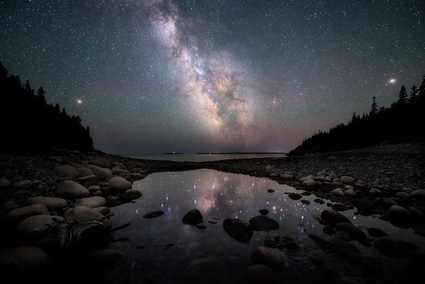 Night reflections at Hunters Beach in Acadia National Park