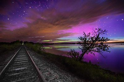 Aurora At Unity Pond #3 - one frame captured at 3:26 AM from a time lapse that I set up on the train tracks next to Unity Pond, Maine. Photographed May 18, 2013.