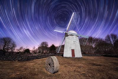 Jamestown Windmill at Night
