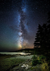 The Milky Way rises along the Bold Coast of Maine. Photographed September 8, 2013.
