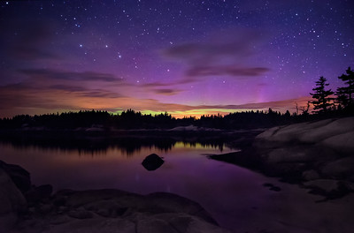 The Aurora Borealis flaring up & reflecting in the cove near Sand Beach in Stonington, Maine. Photographed June 6, 2013 @ 2:29 AM.