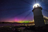 The aurora spikes up behind Marshall Point Lighthouse - Port Clyde, Maine. Photographed August 5, 2013.