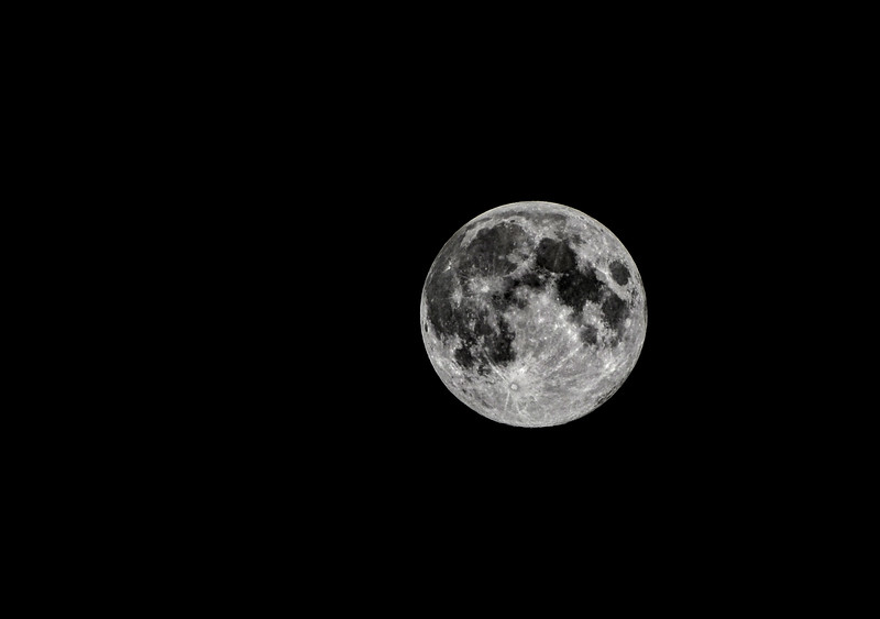 The Full Harvest Moon in late September 2012 lights up a cloudless sky. Shot with my Nikon D7000 and 70-300mm zoom lens.