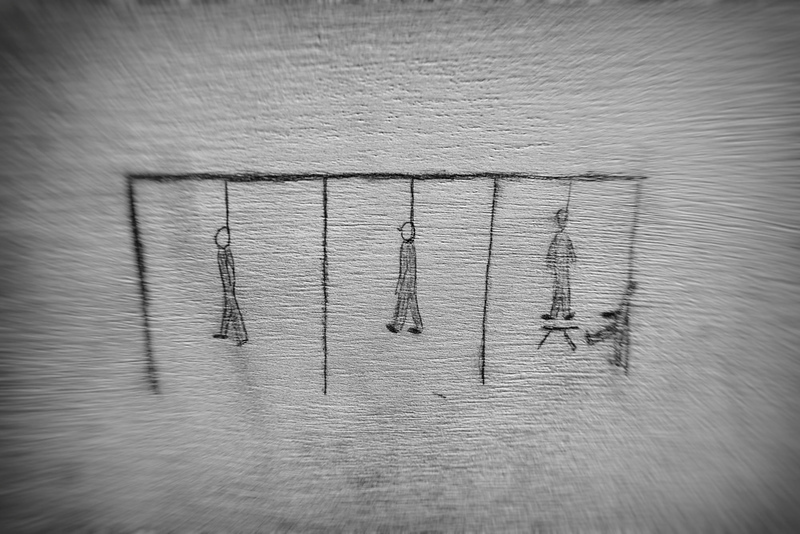 Hinrichtung am Galgen - Zeichnung eines im KZ Auschwitz verstorbenen Kindes