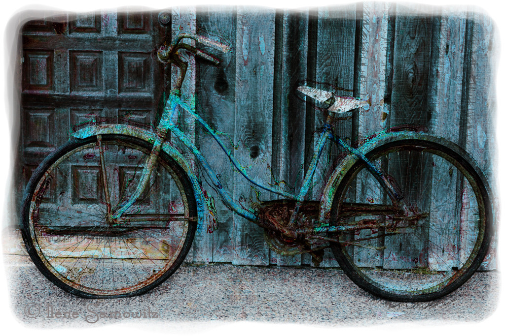 1-6-13 Bicycle in Bandon processed using Filter Forge artomatic filter.  This is a very interesting program that has both effects and also creates textures.  I plan on using this more in the coming months.<br /> <br /> Thanks for making my  Necanicum Estuary the number one picture.  I was thrilled.<br /> <br /> Critiques Welcome.