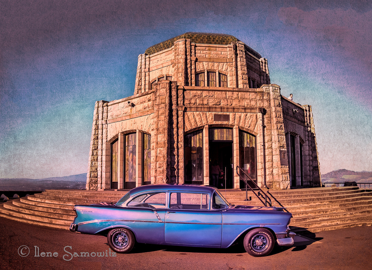 "1-11-14 Old vehicle at the Vista House at the Columbia River Gorge, Oregon. Does anyone know what kind of vehicle this is?  Thanks to Rick and SavannahSam it is a 56 Chevy.  More info about Vista house. <a href=""http://en.wikipedia.org/wiki/Vista_House"">http://en.wikipedia.org/wiki/Vista_House</a><br /> <br /> I used a texture to add interest to the blue sky."