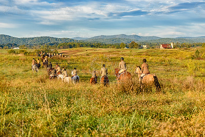 Piedmont Fox Hounds at Edgecliff with Blue Ridge Mountains and Skyline Drive in the distance.