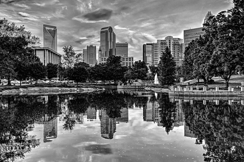 charlotte north carolina city skyline reflections