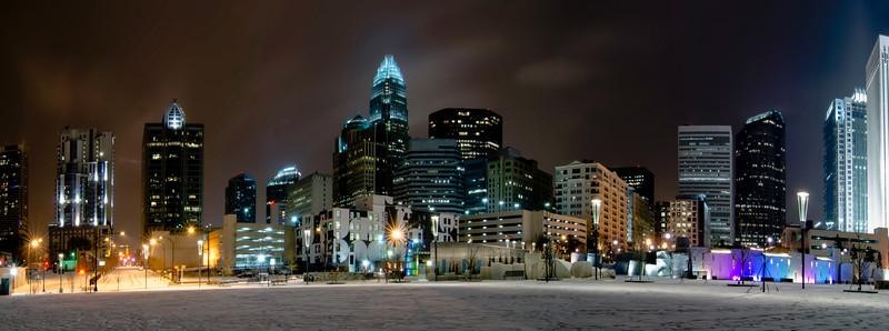 charlotte queen city skyline near romare bearden park in winter snow