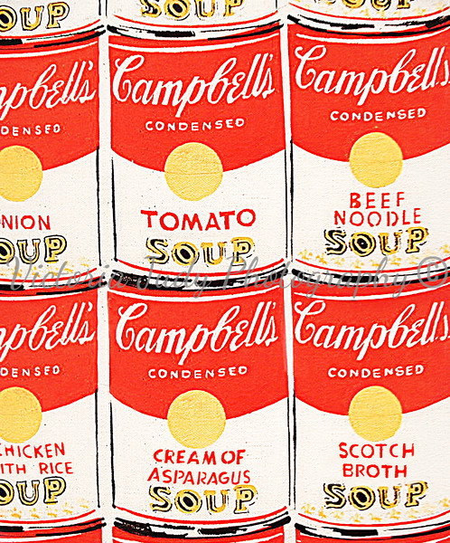 Custom for my kitchen - 2010<br /> <br /> 16x20 - Photograph<br /> <br /> I used two pictuers I took of Andy Warhol's painting, '200 Campbells Soup Cans,' which was visiting the National Gallery in D.C. in 2005, to create this for my kitchen. The original pictures are pictured to the right.