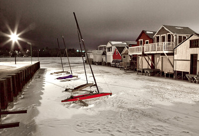 frozen boathouses
