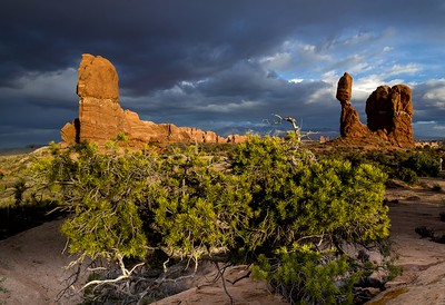 storm at balanced rock