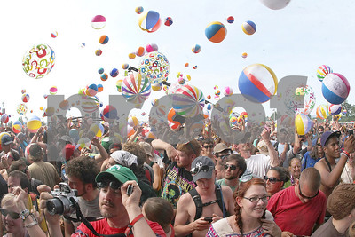 Spencer Tulis/Finger Lakes Times It may be one of the largest beach ball parties ever as thousands of the inflatable objects appeared while the band Phish took the stage at Super Ball IX at Watkins Glen International Speedway Saturday July 2nd. Close to 60,000 were expected for the three day event. The last concert to be held at the venue was in 1973 where over 600,000 watched headliners The Grateful Dead perform.