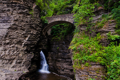 Bridge and waterfall in the gorge at Watkins Glen State Park, New York.