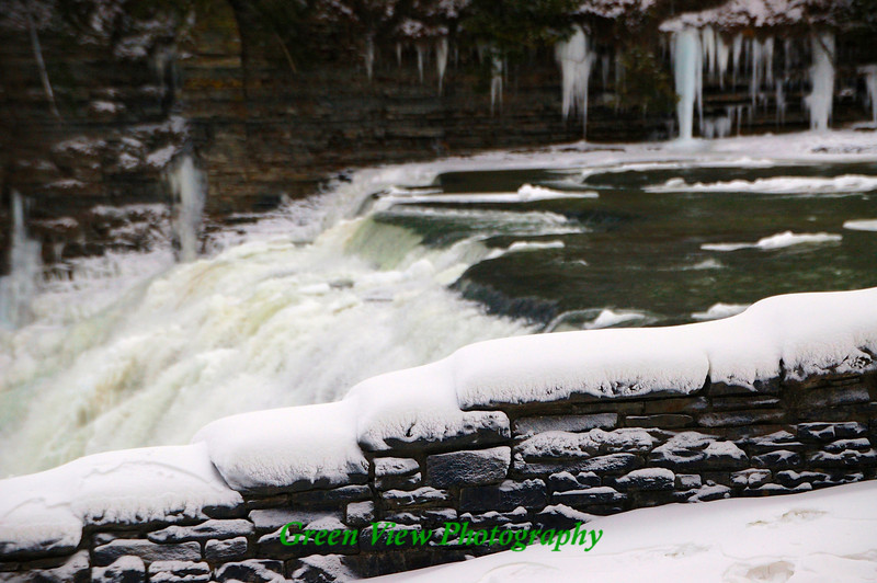 Snow Covered Stone Wall