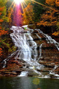 Sun Rays above Buttermilk Falls, Finger Lakes.
