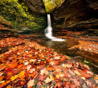 Excelsior Glen Waterfalls and Fall Foliage.