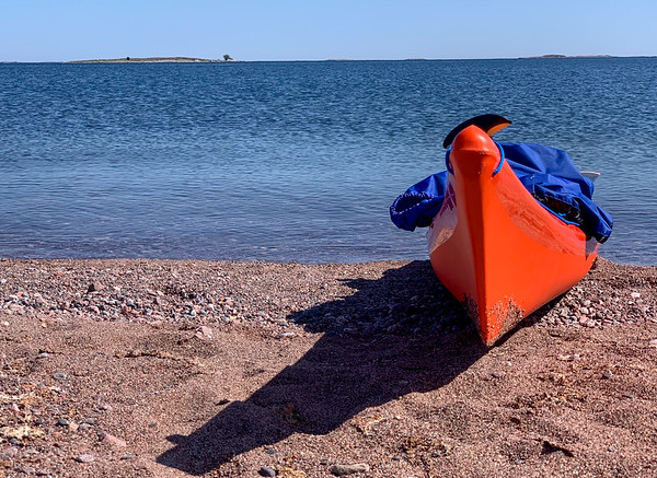Kayak on a sandy beach, Jurmo, Finland