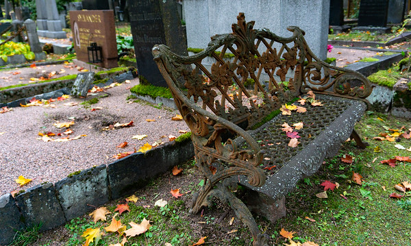 Iron-wrought chair, Helsinki Cemetery