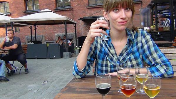 Sampling a wide range of Finnish beers in Helsinki, Finland
